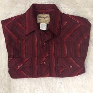 WRANGLER PEARL SNAP Burgundy Western Shirt Metalic